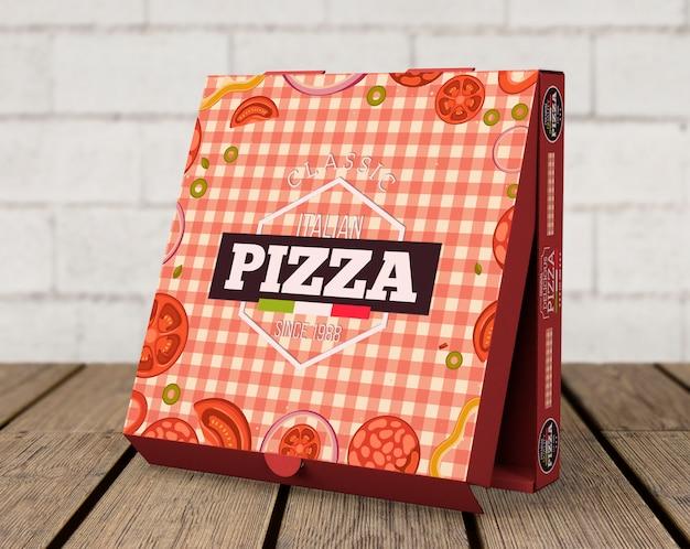 Maquete de caixa de pizza criativa