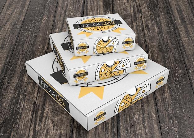 Maquete de caixa de pizza empilhada