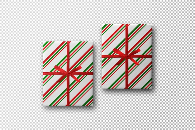 Maquete de caixa de presente com design de natal