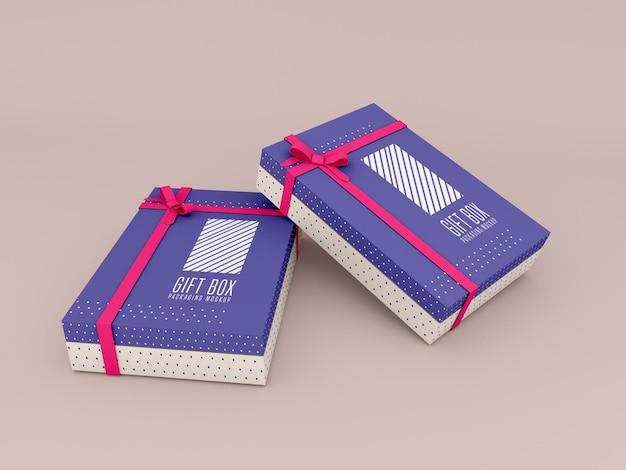 Maquete de caixa de presente com duas decorações