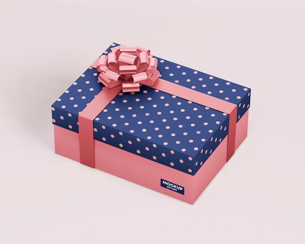Maquete de caixa de presente com fita