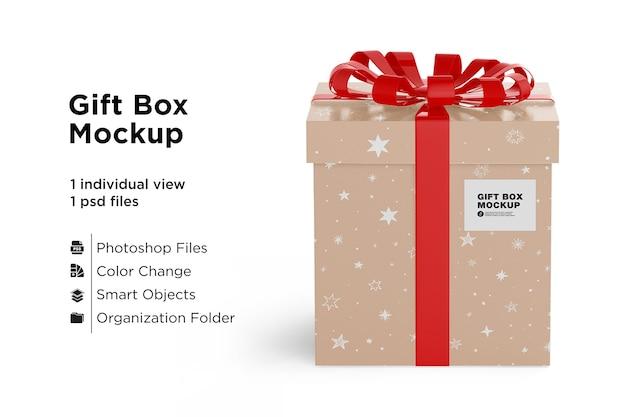 Maquete de caixa de presente com laço de fita vermelha