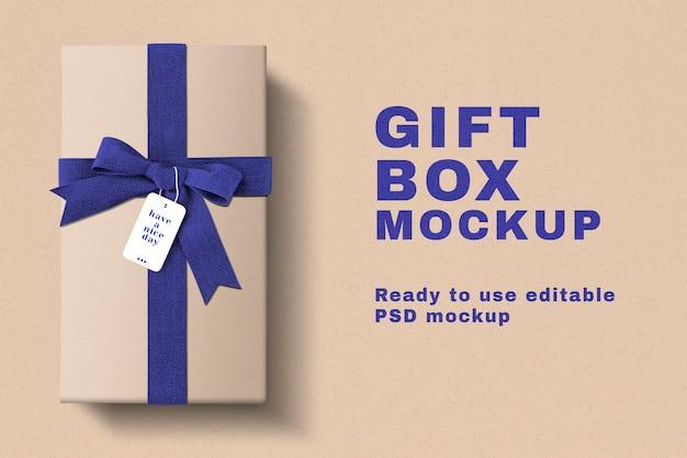 Maquete de caixa de presente de aniversário psd com fitas azuis