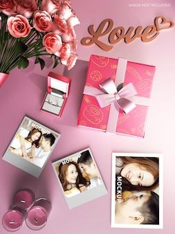 Maquete de caixa de presente de casamento
