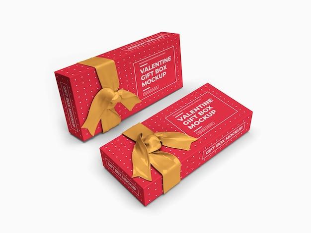 Maquete de caixa de presente de dia dos namorados isolada