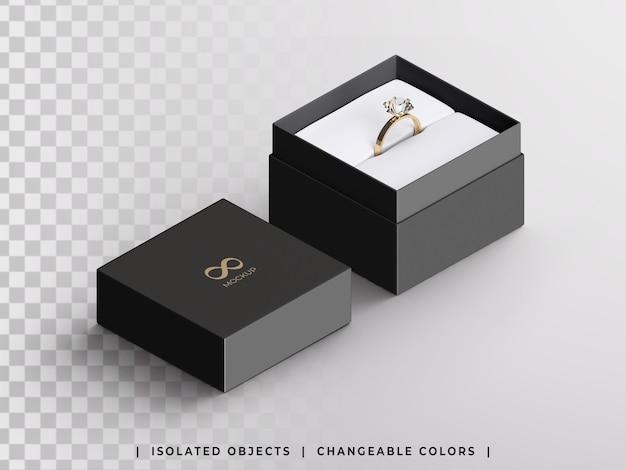 Maquete de caixa de presente de joias com vista isométrica do anel dourado isolada