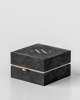 Maquete de caixa de presente preta de luxo para joias em fundo branco para marca de renderização em 3d