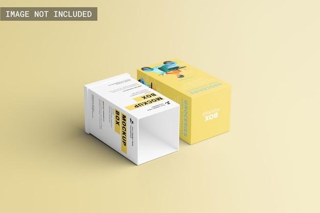 Maquete de caixa de produto retangular estabelecendo-se