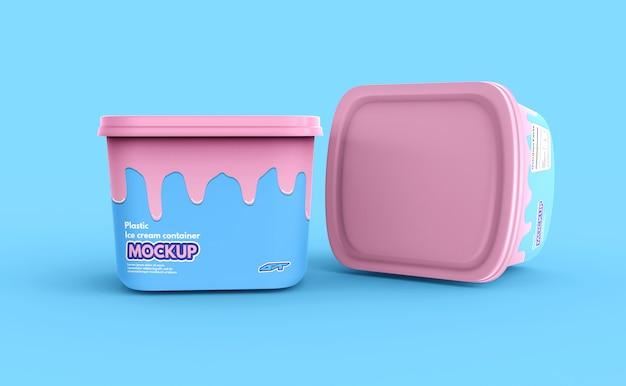 Maquete de caixa de recipiente de sorvete de plástico