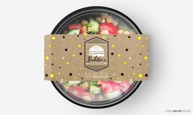 Maquete de caixa de salada com tampa de papel na salada mista