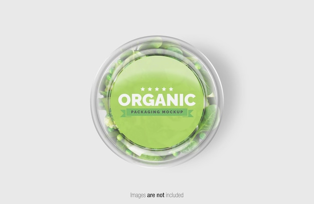 Maquete de caixa de salada verde com adesivo