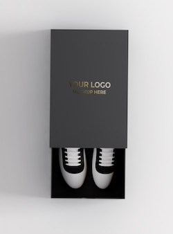 Maquete de caixa de sapato com texto dourado