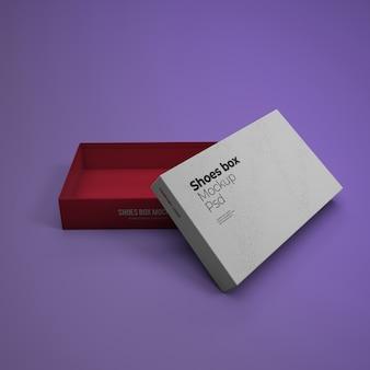 Maquete de caixa de sapatos com cor de fundo editável
