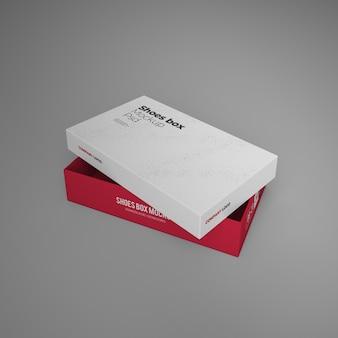 Maquete de caixa de sapatos com design editável psd Psd Premium