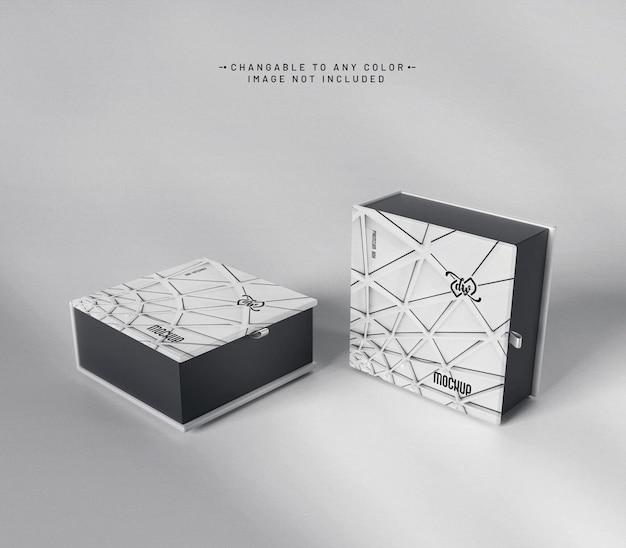 Maquete de caixa quadrada luxuosa