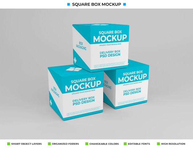 Maquete de caixa quadrada para embalagem de produto