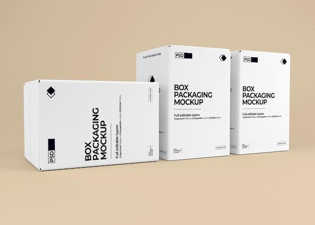 Maquete de caixa realista em renderização 3d isolada