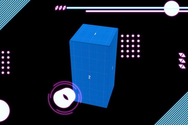 Maquete de caixa retangular de néon