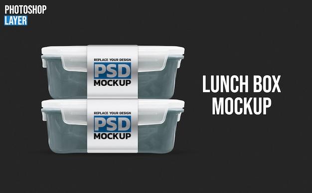 Maquete de caixas de almoço de plástico