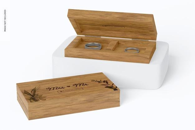 Maquete de caixas de anel de madeira, abertas e fechadas