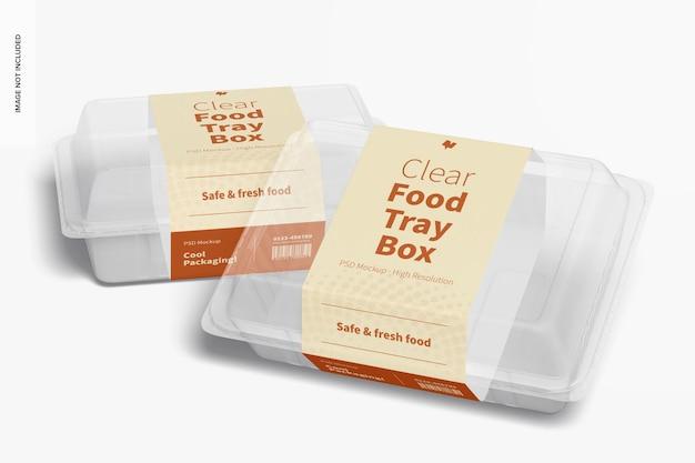 Maquete de caixas de bandejas de alimentos transparentes