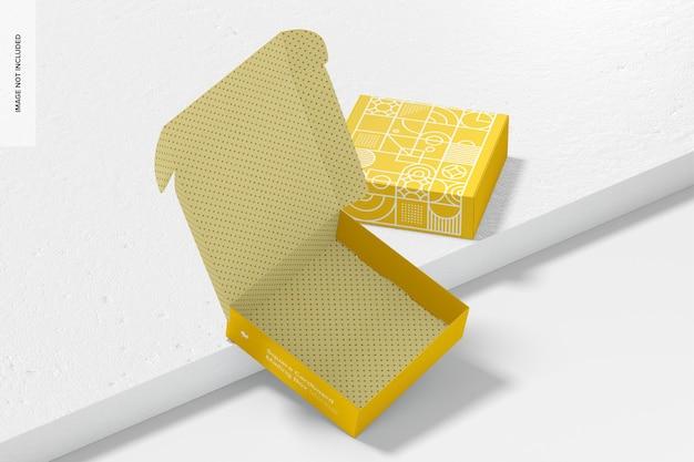 Maquete de caixas de correio de papelão quadradas, abertas e fechadas