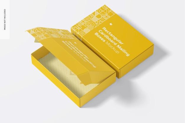 Maquete de caixas de correio de papelão retangular, abertas e fechadas