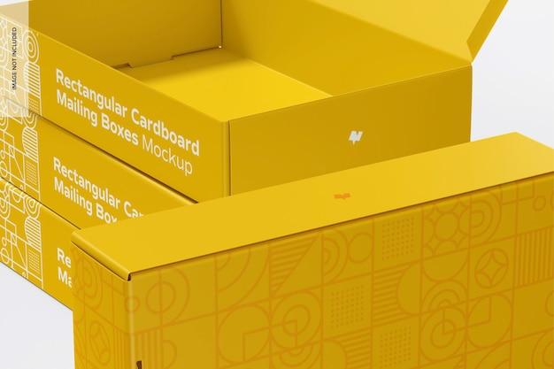 Maquete de caixas de correio de papelão retangular, close-up