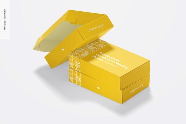 Maquete de caixas de correio de papelão retangular, vista lateral