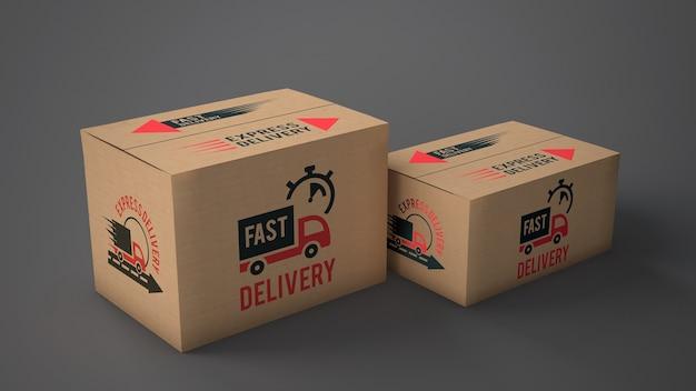 Maquete de caixas de entrega de tamanhos diferentes
