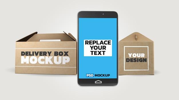 Maquete de caixas de entrega on-line com smartphone