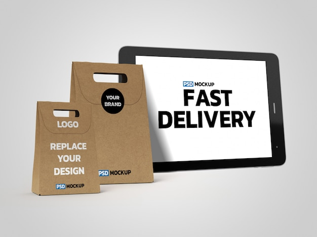 Maquete de caixas de entrega on-line com tablet