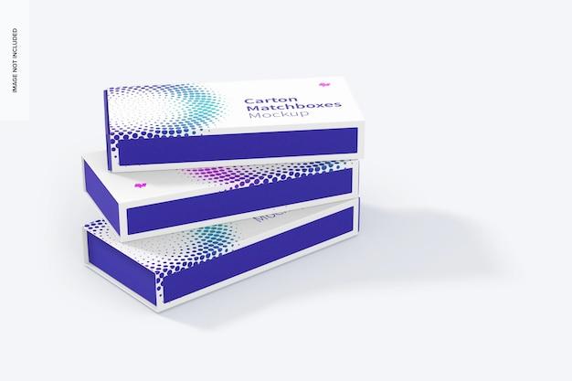 Maquete de caixas de fósforos de papelão, conjunto empilhado