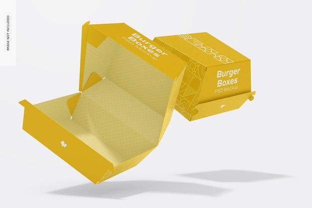 Maquete de caixas de hambúrguer, flutuante