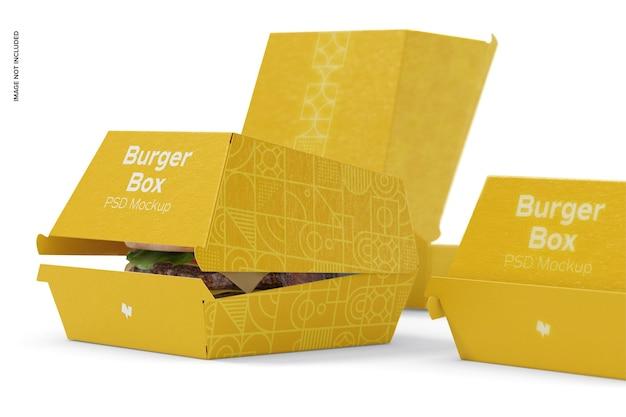Maquete de caixas de hambúrguer