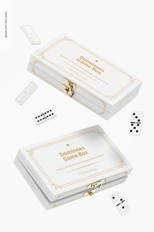 Maquete de caixas de jogo de dominó, flutuante