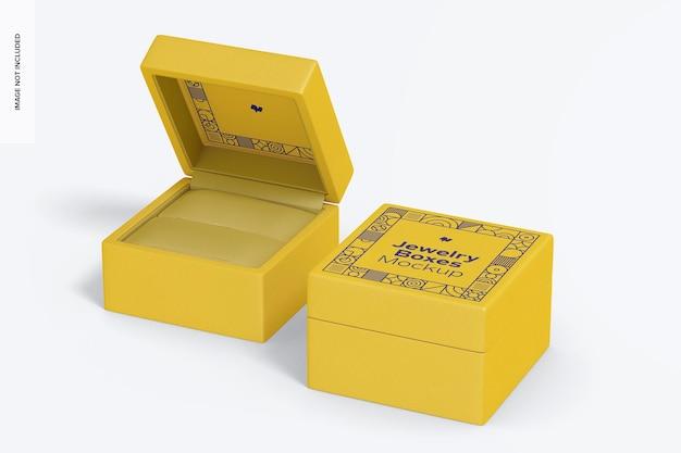 Maquete de caixas de joias, abertas e fechadas