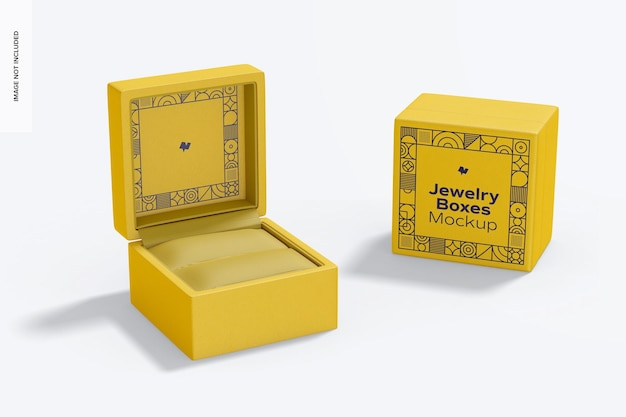 Maquete de caixas de joias, vista frontal