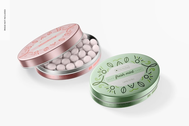 Maquete de caixas de lata de doces ovais