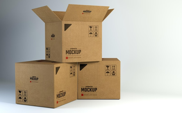Maquete de caixas de papelão quadradas