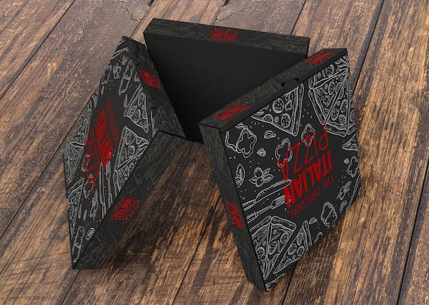 Maquete de caixas de pizza criativa