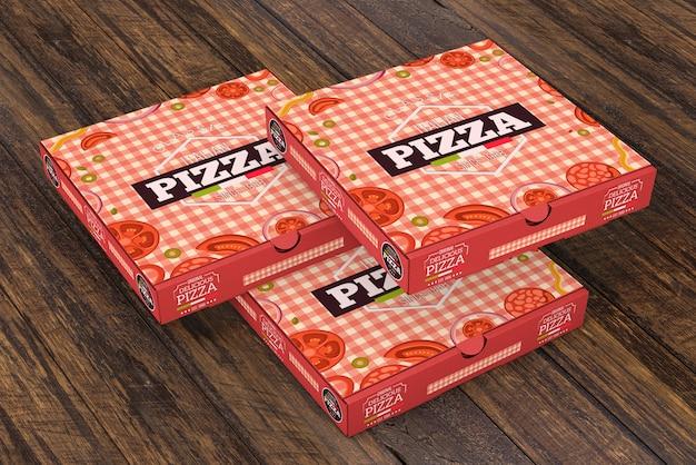Maquete de caixas de pizza empilhadas