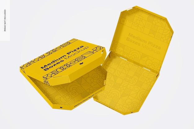 Maquete de caixas de pizza médias