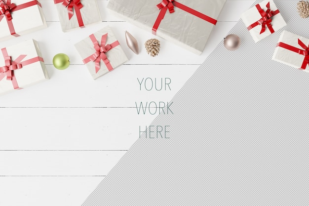 Maquete de caixas de presente de natal com bolas e decoração