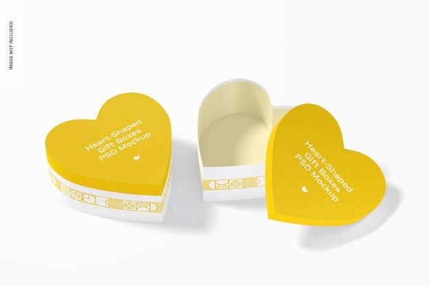 Maquete de caixas de presente em forma de coração, fechadas e abertas