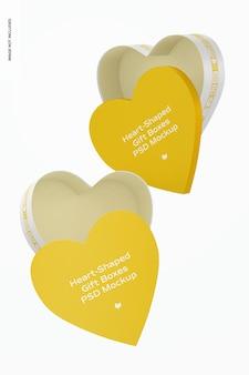 Maquete de caixas de presente em forma de coração