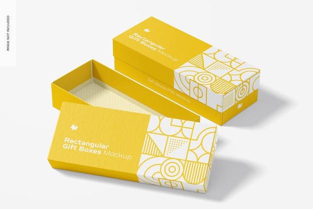 Maquete de caixas de presente retangulares