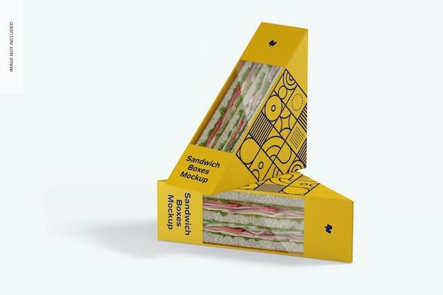 Maquete de caixas de sanduíche, em pé e caídas