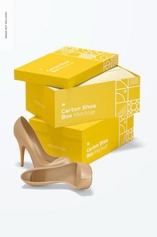 Maquete de caixas de sapato de papelão empilhadas