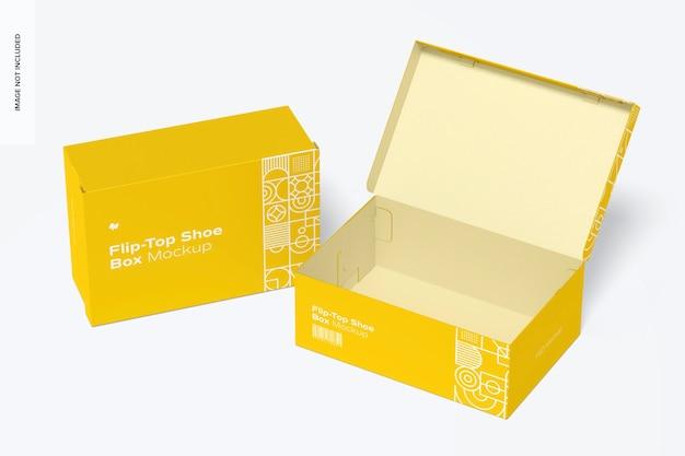 Maquete de caixas de sapatos flip-top